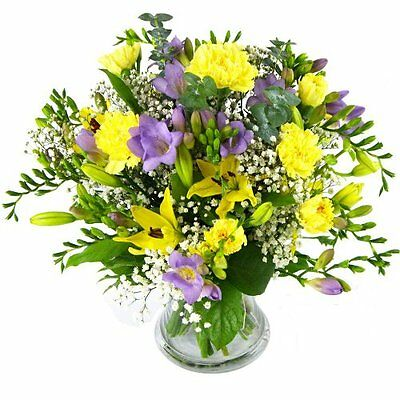 Clare Florist Wonderful Freesia and Lily Bouquet - Fresh Flower Bouquet Full of