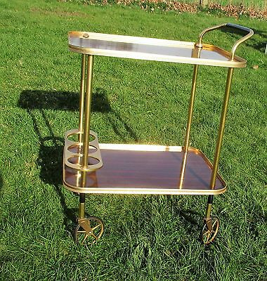 Retro Authentic Bar Cocktail Tea Cart Trolley Italian Hollywood Regency Brown