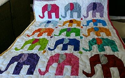 Handcrafted Handmade Boy Girl Pieced Elephant Animal Multi Color Baby Crib Quilt