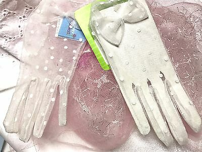 Girl's Size 4-7 New White Sheer Polka Dot Dress Gloves With A Bow
