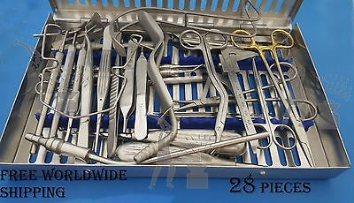 Dental Implant Surgery Kit Dentistry Instruments Set of 28 Pieces Free Shipping