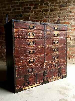 Magnificent Antique Campaign Chest of Drawers Japanese Victorian 19th Century