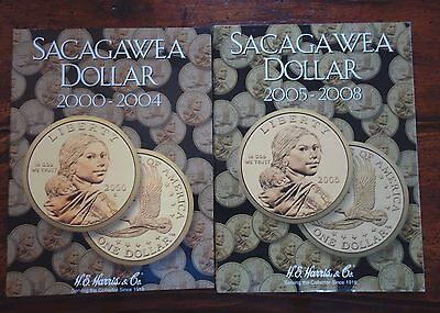 Sacagawea $1 Dollar Set with Proofs (pds) 22 coins in Harris Albums 2000 - 2008