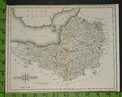 Somersetshire England Antique Map Printed 1700's 11x9 Copper Plate Map