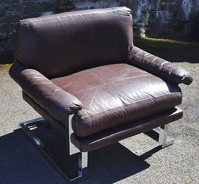 ### Fantastic 1970's Retro Chrome And Leather Chair By Pieff ###
