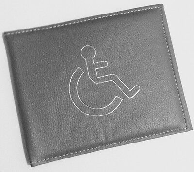 Disabled Blue Badge Holder Cover Protector Wallet PU Leather Parking Permit Grey