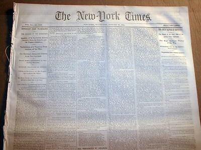 Original NEW YORK TIMES Civil War newspaper dated 1861-1865 - over 150 years old