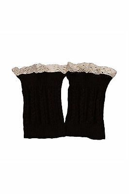 H907 Women's Lace Trim Leg Warmers Short Cuffs Coffee