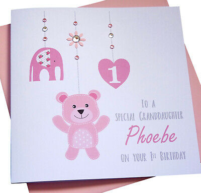 Handmade Personalised First 1st Birthday Card Granddaughter Daughter Niece Etc