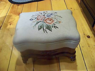 Antique Needlepoint Victorian ottoman/ foot stool