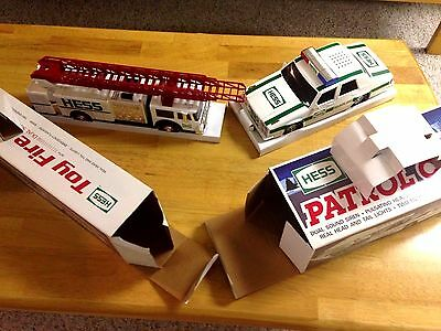 2 VEHICLE LOT Hess Fire Truck AND PATROL CAR NIB- NEW PERFECT! kids love these!