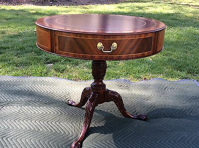 Henkel Harris Leather Top Mahogany Drum Table