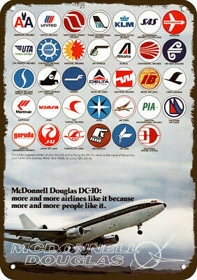 1975 McDONNELL DOUGLAS DC-10 JET Vintage Look Replica Metal Sign - AIRLINE LOGO