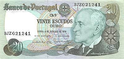 Portugal 20 Escudos  4.10.1978  Series BJZ circulated Banknote 2D