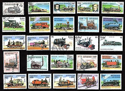 25 All DifferentRAILWAY  STEAM  ENGINES  on Stamps