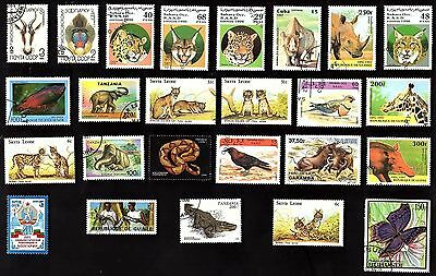 25 All Different AFRICAN ANIMAL LIFE   on Stamps