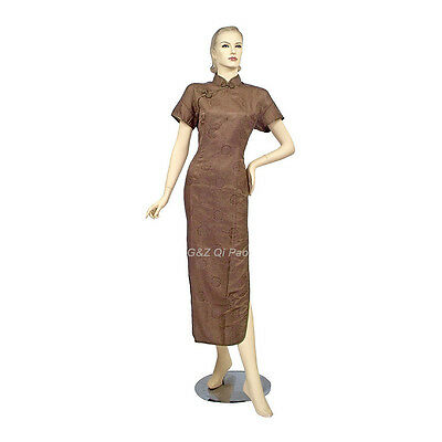 Cream/Brown/Maroon Chinese Short Sleeves Cheongsam (Qi Pao) Dress 5 Sizes M-XXXL