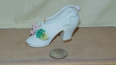 Vintage Mini Ceramic High Heal Shoes With Pink Flower Japan