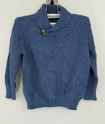 Baby Gap Boys Size 18-24 Months Mock Neck Blue Cable Knit Sweater