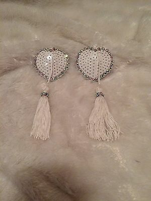 White AB Crystal And Sequin Heart Shaped Tassel Pasties. Burlesque Cabaret