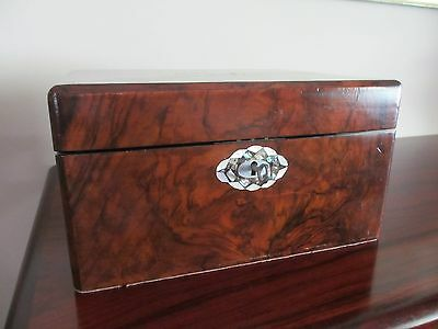 Antique English Writing Box, Walnut With Inlay