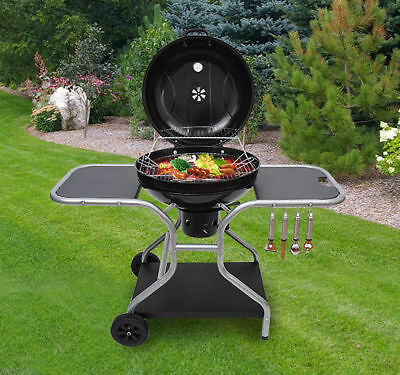 Garden Deluxe Charcoal Trolley BBQ Patio Barbecue Grill Heating Heat With Wheels