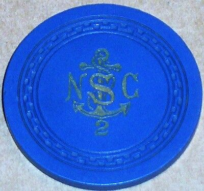 Old NORTH SHORE CLUB Casino Roulette Chip Vintage Zigzag Mold Lake Tahoe NV 1949