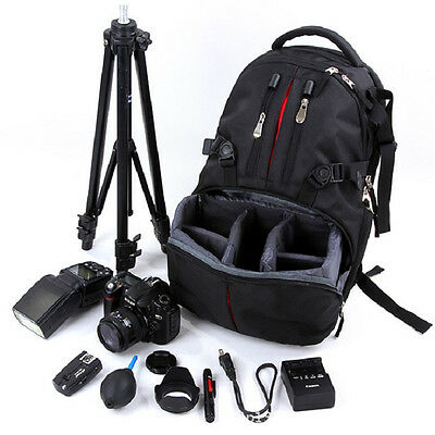 Professional Waterproof DSLR Camera Backpack Padded Case Bag + Rain Cover Black