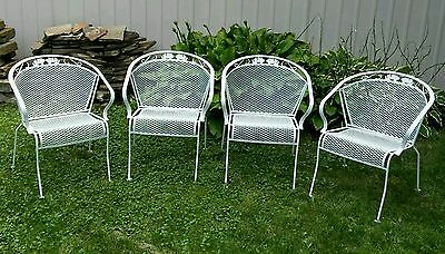 4 Vintage Meadowcraft Wrought Iron Metal Barrel Back Patio Chairs Dogwood Fl