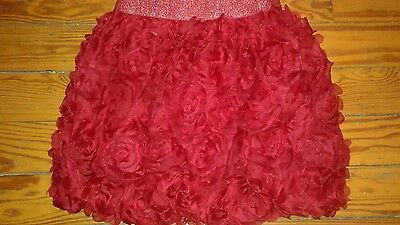 EUC The Children's Place Girls Skirt Red Flower Embellished Size 10-12