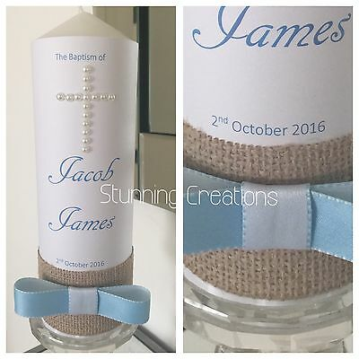 Personlised Christening Baptism Name Day Candle With Burlap And Bow