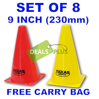 9 INCH TRAINING CONES (set of 8)  WITCHES HAT FOOTBALL SOCCER RUGBY TRAFFIC
