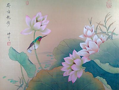 VINTAGE LOTUS Flower HAND PAINTED Watercolor PAINTING on SILK Chinese SIGNED BIG