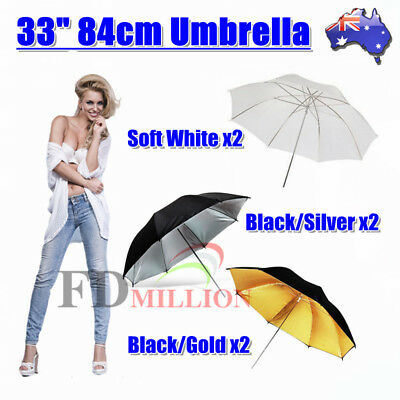 "2 x 33"" Photography Reflective Umbrella White Black Gold Silver Studio Lighting"