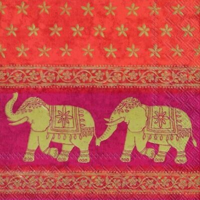 Marani Red Red Elephant Indian paper napkins 33 cm square 3 ply lunch size