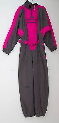 Womens Vintage Ski Suit Over All Lightly Padded Pink Grey Size M Medium Exc