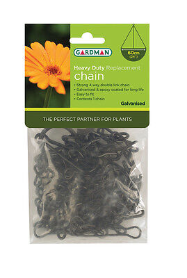 Gardman Replacement Chain for Hanging Baskets, 60cm Length, Black, Heavy Duty