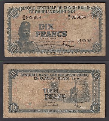 Belgian Congo 10 Francs 1958 (F) Banknote Currency P-30b