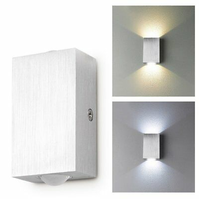 New 2W Modern LED Wall Light Up Down Indoor Outdoor Sconce Lighting Lamp Silver