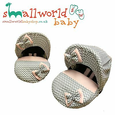 Personalised Pink And Grey Zig Baby Car Seat Cover (NEXT DAY DISPATCH)