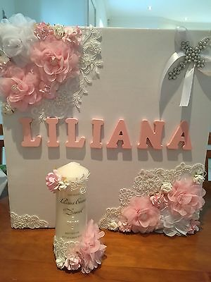 Personlised Christening Baptism Name Day Candle And Box Set