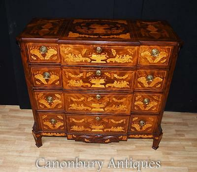 Antique Dutch Marquetry Chest of Drawers 1840 Commode Chests