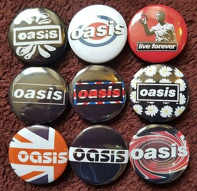 Oasis Button Badges x 16. (Set 3). Pins. Collector. Bargain :0)