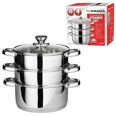 28Cm 4Pc Steamer Cooker Pot Set Pan Cook Food Glass Lids 3 Tier Stainless Steel