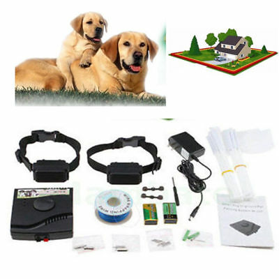 Underground Wireless Electric 2 Dogs Fence System Shock Collar Trainer Device