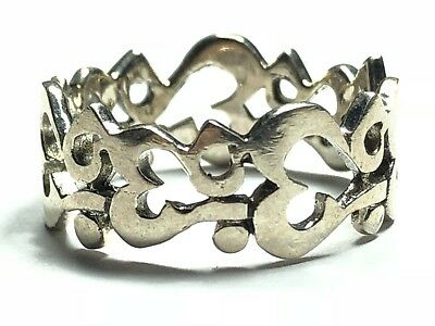 Beautiful Ladies Solid Sterling Silver Allah Kabah Ring Band - Sz 10 - FREE S&H