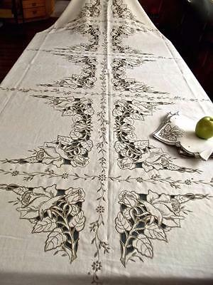 Antique Madeira Deco Linen Banquet 67x102 Tablecloth +12 Napkins Cutwork Roses