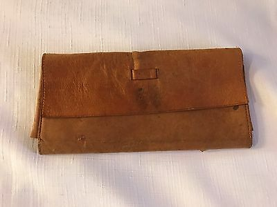 ANTIQUE VINTAGE Leather Money Pouch Drawstring First National Bank