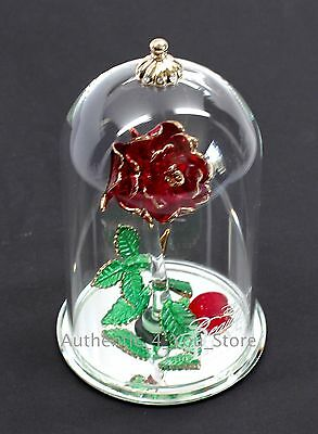 """NEW Disney Arribas Brothers Beauty & the Beast Enchanted Rose 5.5"""" Glass Dome"""