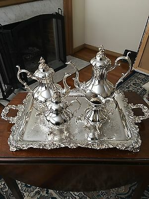 Reed And Barton Winthrop 4 Pc Coffee And Tea Set, Pumpkin 1795 And Serving Tray